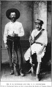 Frederick Burnham, left, during Matabele Wars in Southern Africa, 1896.