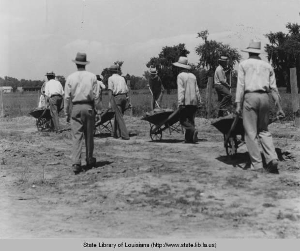 Buildings roads in Old Arabi, 1936. Source: Louisiana Digital Library
