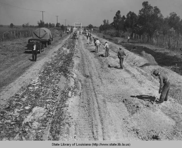 Working on highway project, 1936. Source: Louisiana Digital Library
