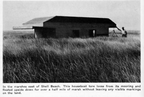Upside houseboat in Shell Beach, 1955. Source: Louisiana Digital Library
