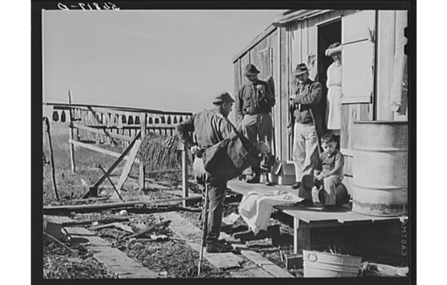 Trappers' house in Delacroix, 1941. Source: Library of Congress