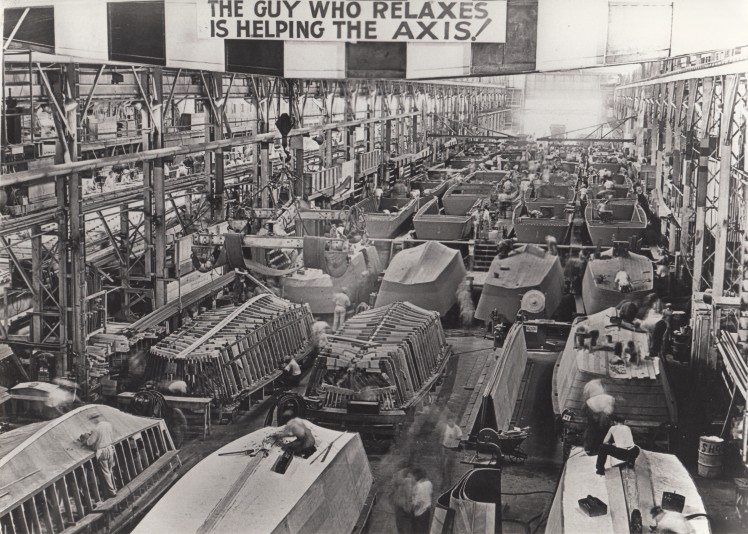 1943 - Landing Craft, Vehicle, Personnel (LCVP) or Higgins Boats being constructed at Higgins Industries
