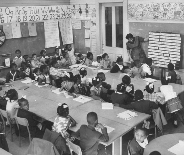 1950s - Crowded segregated classroom