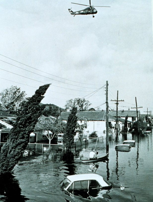 1965 - Flooding in the Lower 9th Ward of New Orleans after Hurricane Betsy
